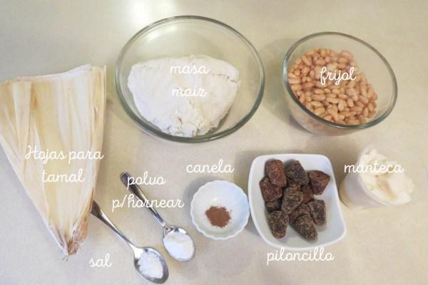 Ingredientes para hacer tamales de frijol