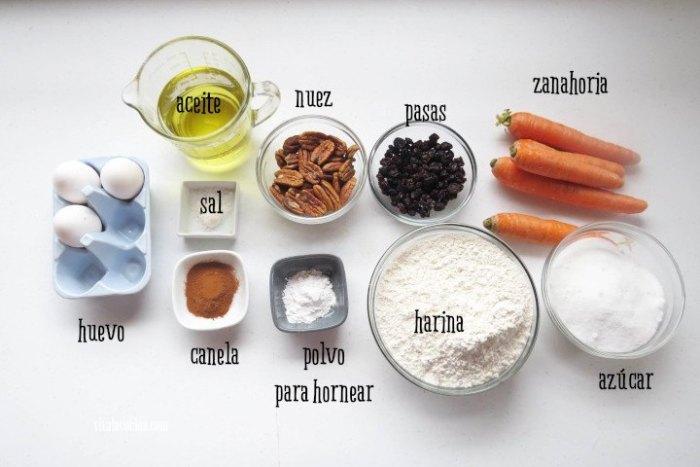 ingredientes para hacer rosca de zanahoria