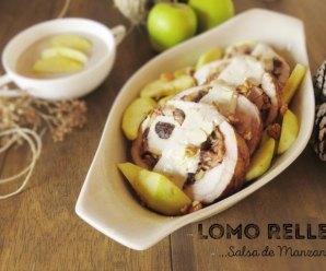 Lomo de Cerdo Relleno al Horno y Con Salsa de Manzana y Champiñones