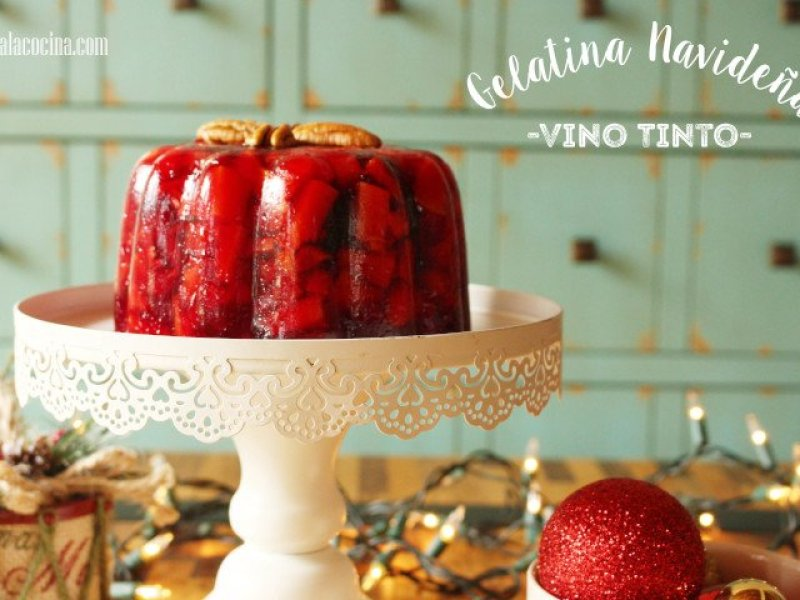 Receta de Gelatina Navideña con frutas