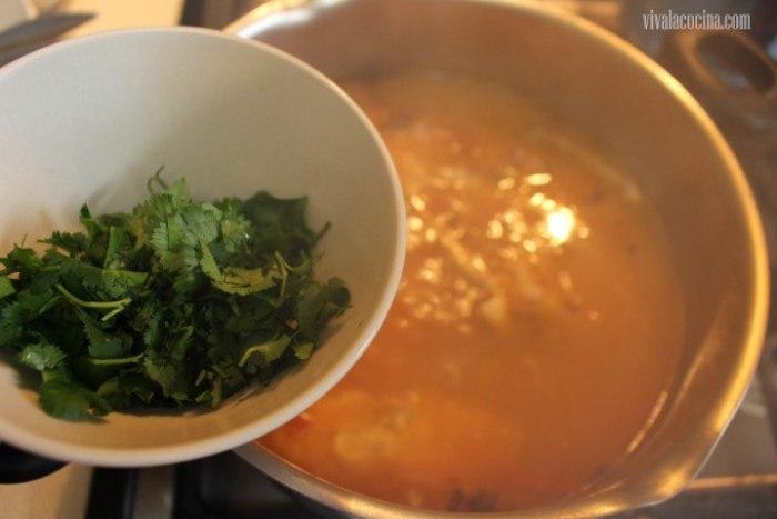 Añadir la sal y el cilantro
