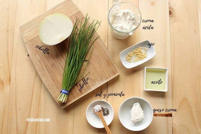 ingredientes para hacer el aderezo o dip de cebolla