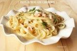 Pasta en Salsa Alfredo con Camarones o Gambas. Receta Fácil de Cuaresma