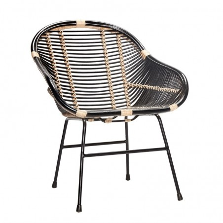 black rattan chair yellowstone fishing hubsch modern with metal legs