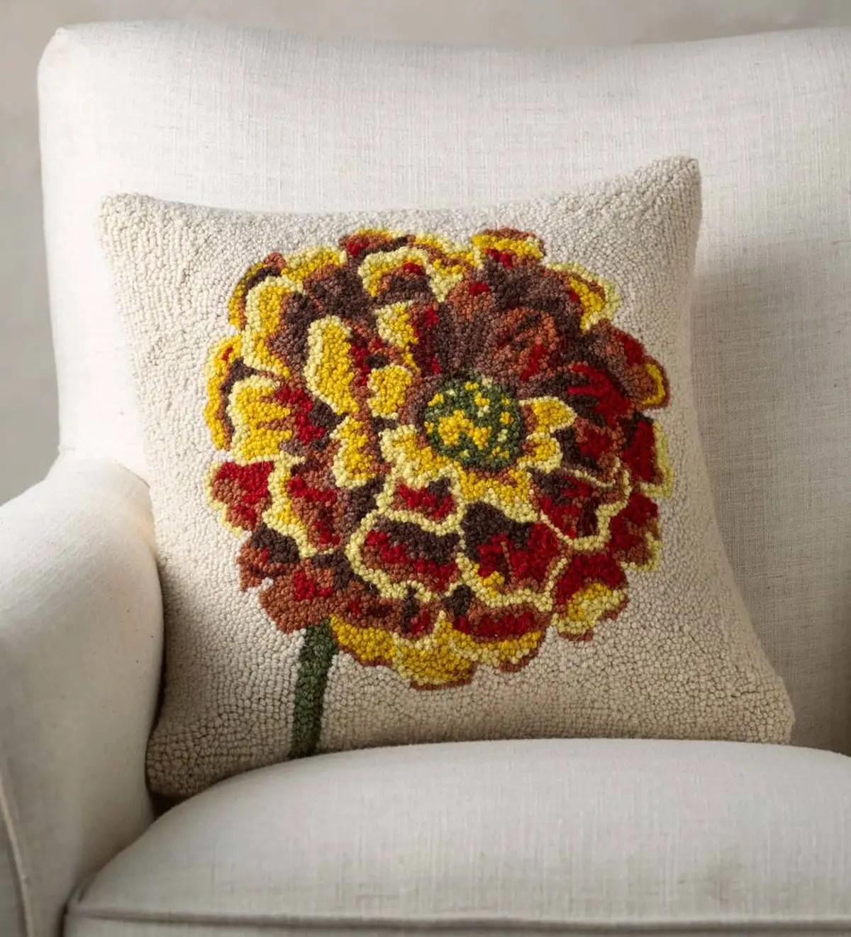 marigold flower hand hooked wool decorative throw pillow vivaterra