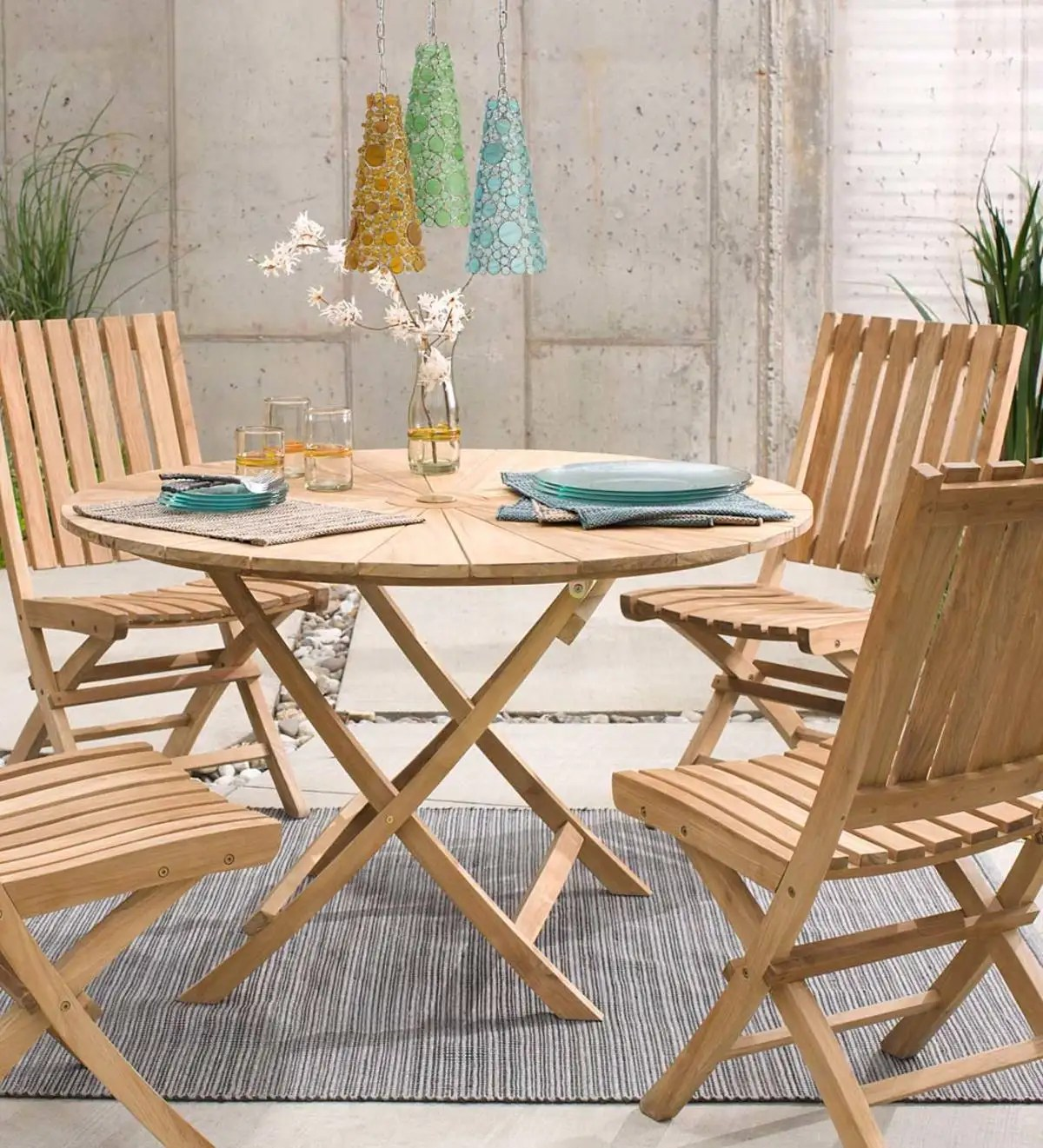 Folding Teak Wood Outdoor Dining Table Vivaterra