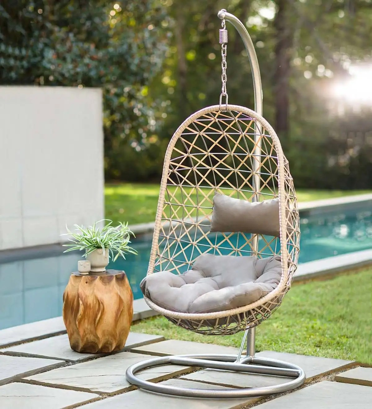 Metal Rattan Hanging Egg Chair Vivaterra