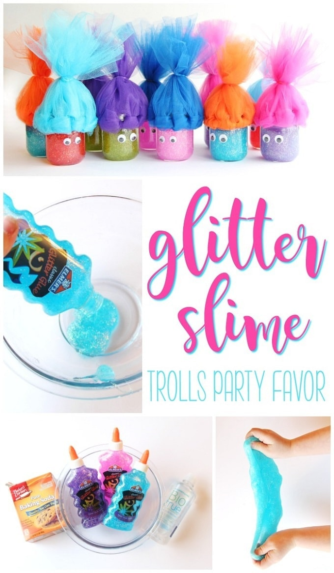 Trolls Party Favor Ideas GLITTER SLIME Viva Veltoro