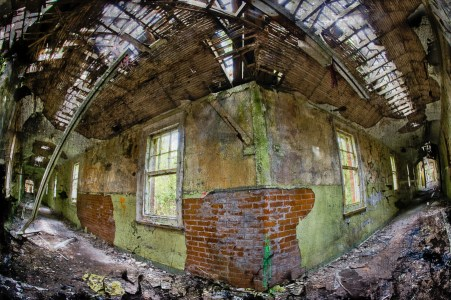 Pale green corridor intersection, with windows, derelict Hellingly Asylum, West Sussex