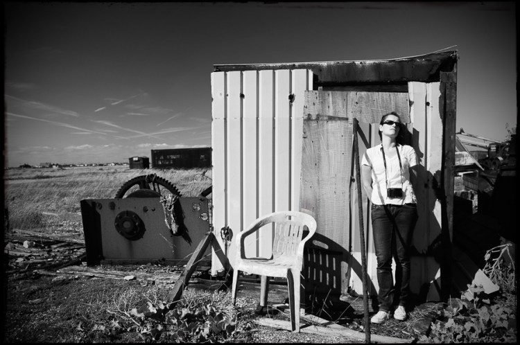 Self Portrait, Dungeness, Kent, UK. Black and white/monochrome