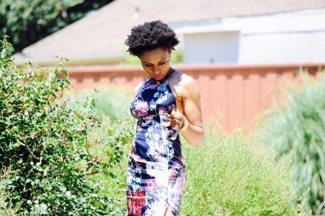 Floral Print Midi Dress + front slit