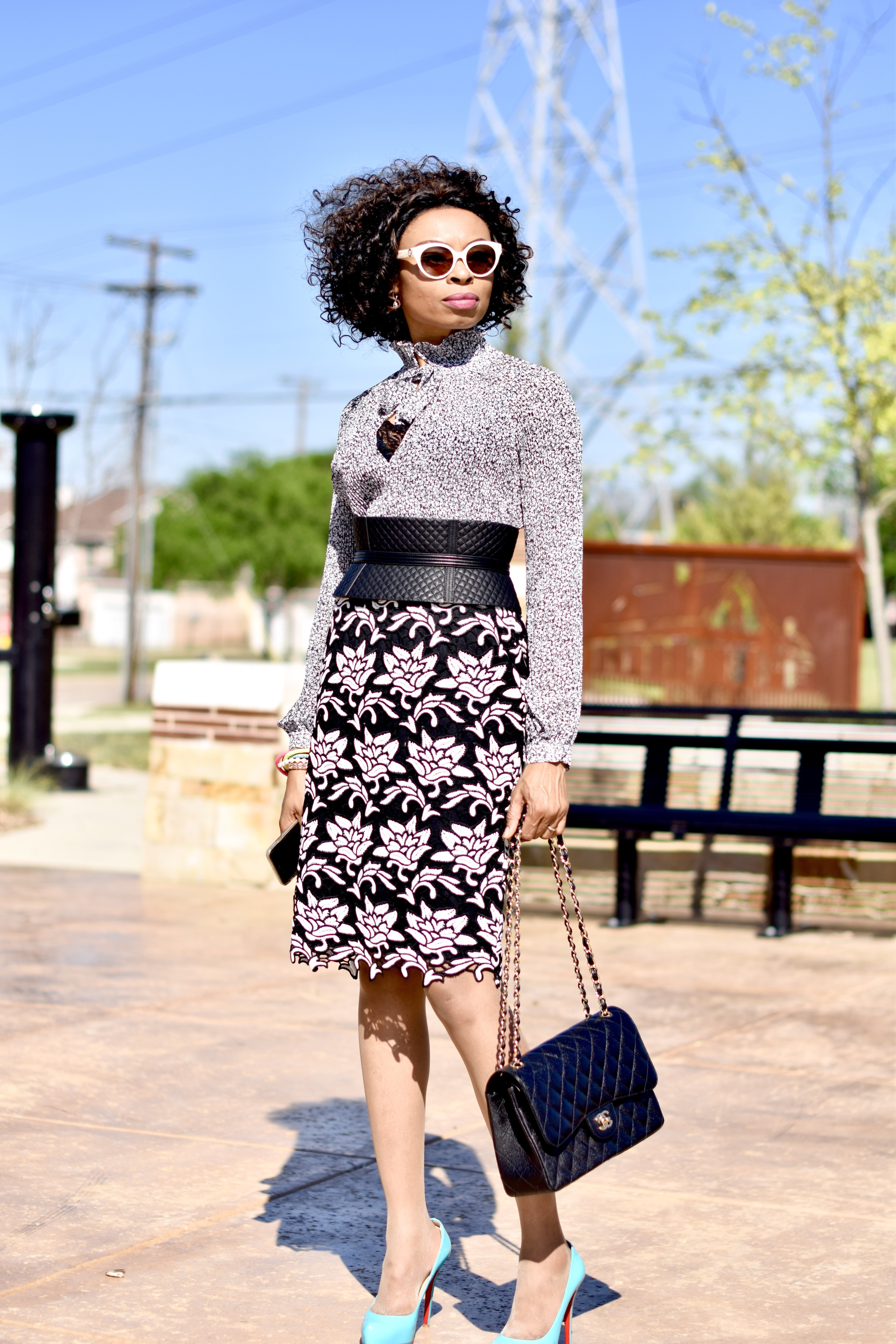 Floral blouse + Floral Skirt monochrome spring look Posted by Vivellefashion