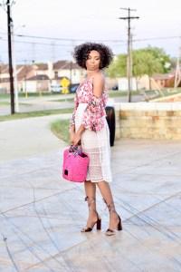 Floral cold shoulder top + midi skirt + block heels Posted by Vivellefashion