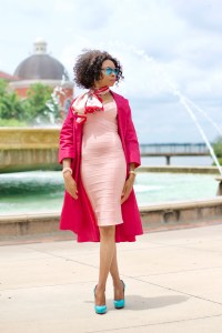 Pink body con bandage dress + Blogiversary Posted by Vivellefashion