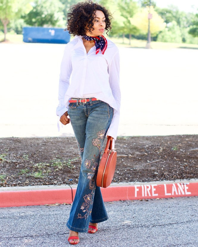 Embroidered Jeans + Lace up shirt Posted by vivellefashion