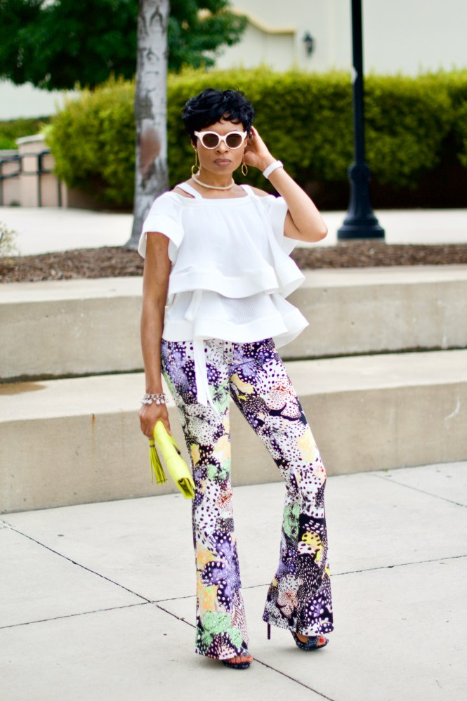 Few Moda off-shoulder ruffle top + Just Cavalli Pants Posted by Vivellefashion