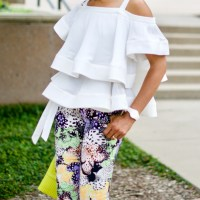 Few Moda off-shoulder ruffle top + Just Cavalli Pants