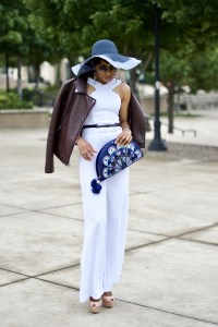 White Jumpsuit + Kate Spade Peacock Clutch Posted by Vivellefashion