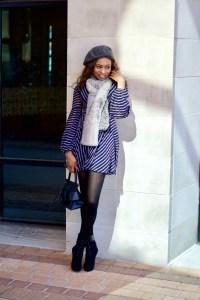 Balloon sleeve skater dress + Beret + Faux fur stole