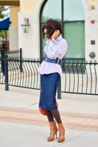 Striped button down puff sleeve shirt