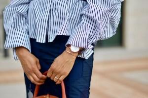 Striped button down puff sleeve shirt