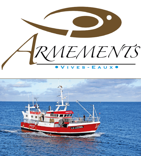Logo Armements Vives Eaux red and white fishing boat on the sea