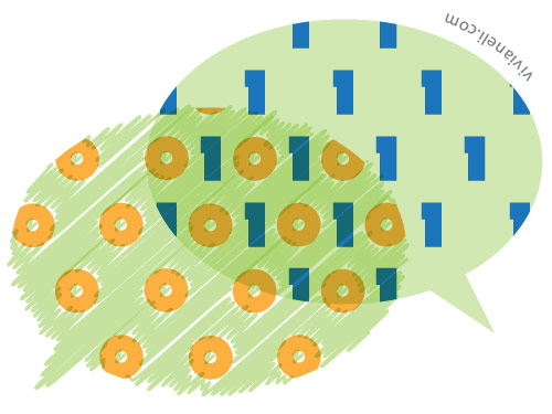 Two speech bubbles talking in different languages combine to create binary code