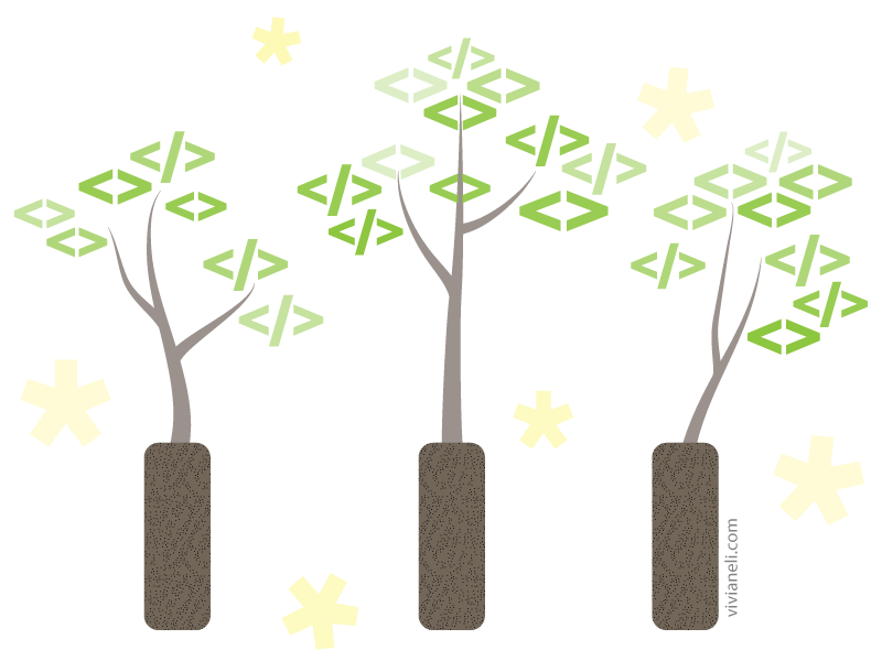 3 saplings with leaves drawn as HTML tags