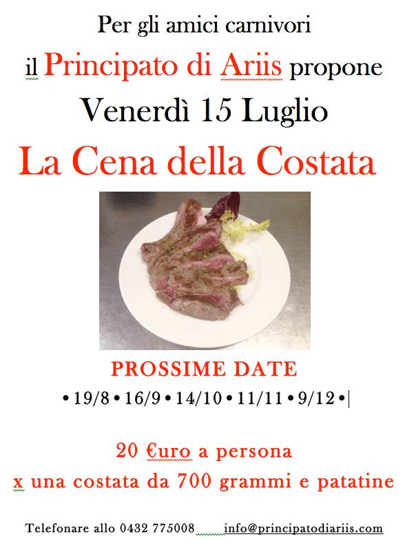 cena costata 15 07 16 Ariis, venerdì 15 Luglio si mangia la super costata di manzo