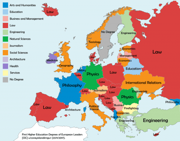 Map of first higher education degrees of European country leaders Vivid Maps