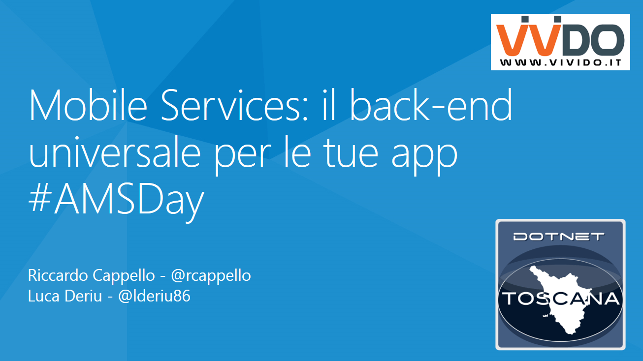 #AMSDay La community @dotnettoscana e gli Azure Mobile Services
