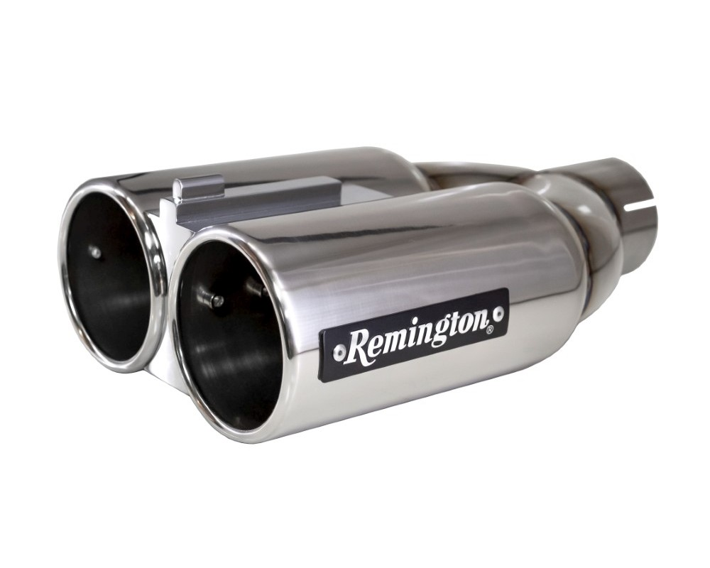 remington dual 4 inch inlet 4 inch outlet double barrel polished stainless steel exhaust tip double barrel