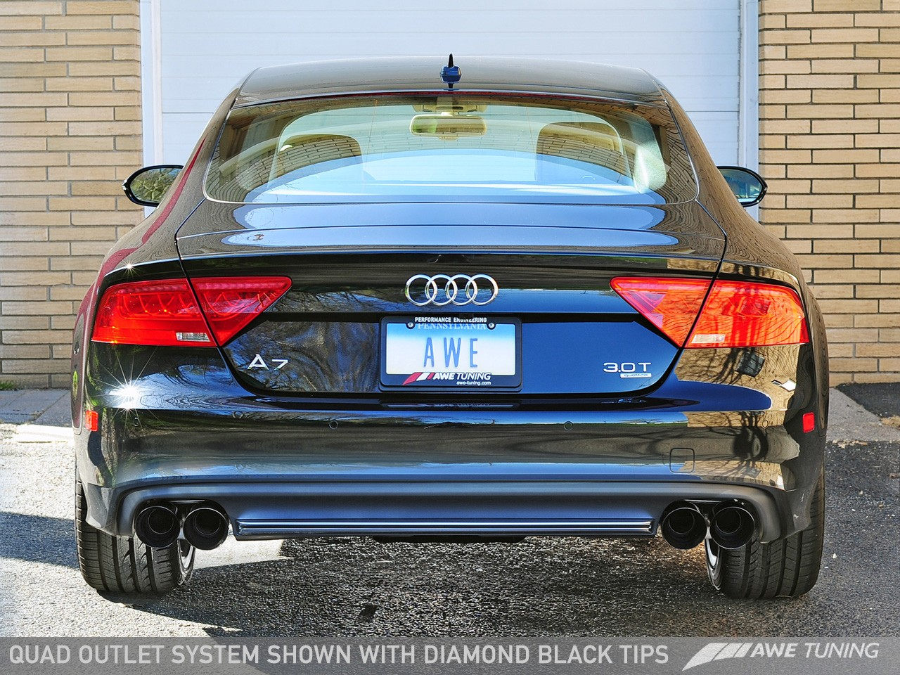 awe tuning touring edition exhaust system w quad outlet chrome silver tips audi a7 c7 3 0t 12 15