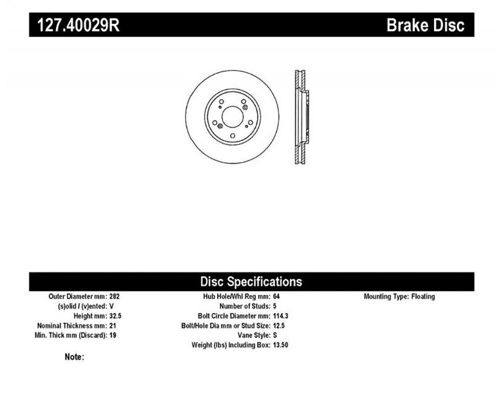 StopTech Sport Drilled/Slotted Brake Rotor; Rear Right
