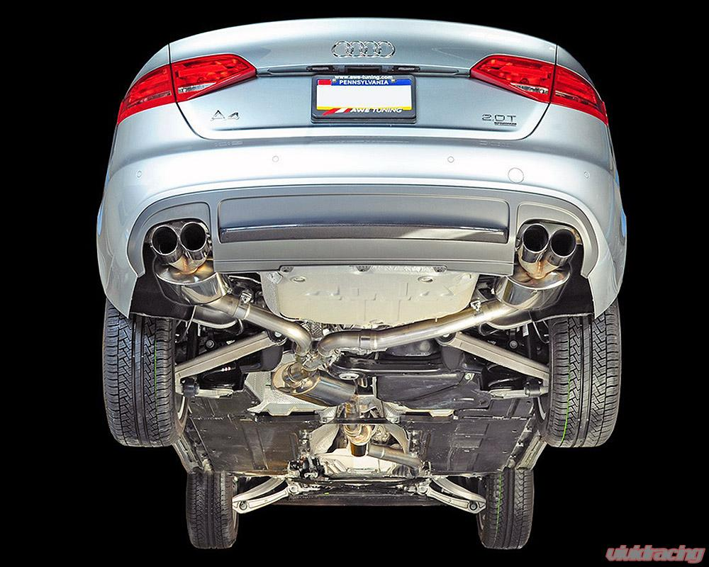 awe tuning touring edition quad outlet exhaust system polished silver tips audi a4 2 0t b8