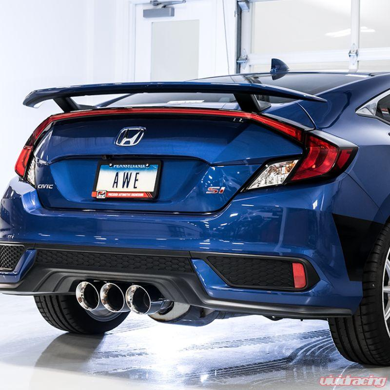 awe track edition exhaust with front pipe triple diamond black tips honda civic si 17 20
