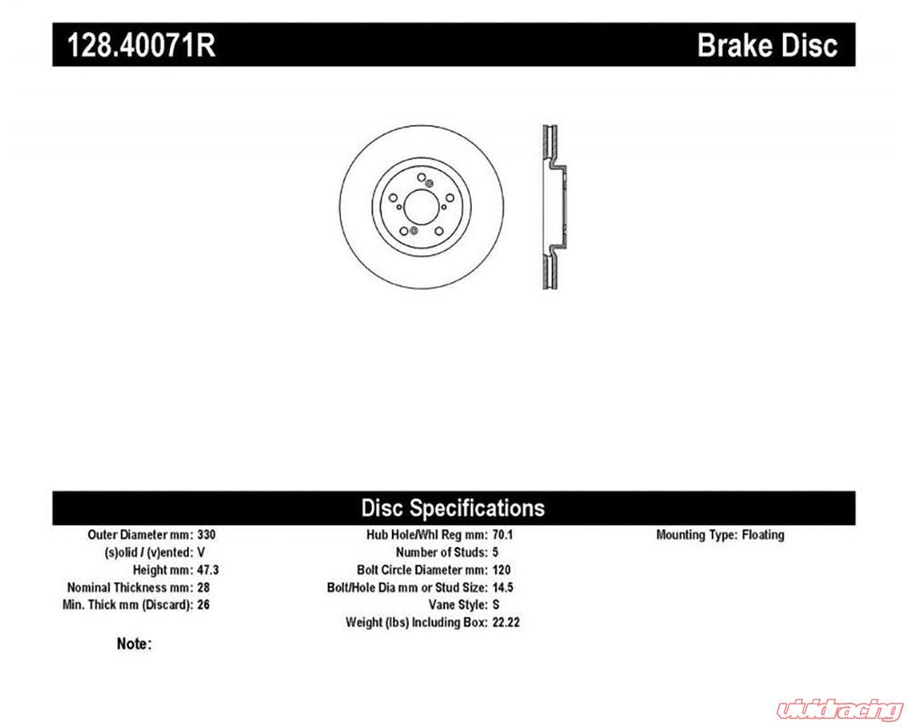 StopTech Sport Cryo Cross Drilled Brake Rotor;Front and