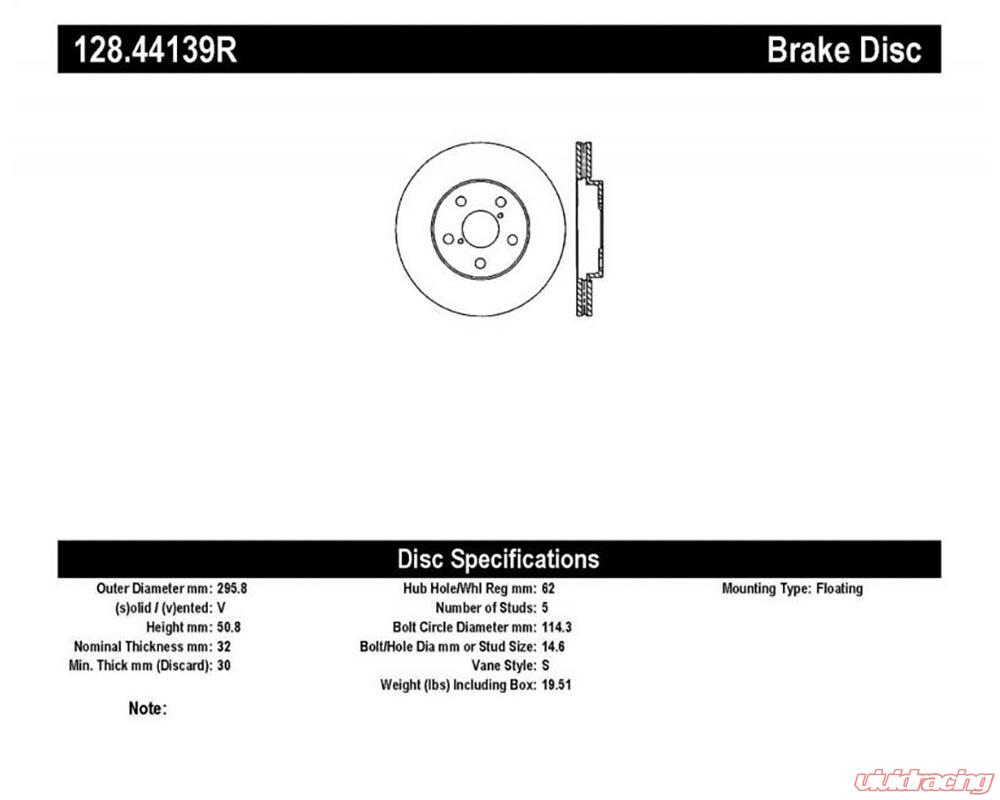 StopTech Sport Cross Drilled Brake Rotor Front Right Lexus