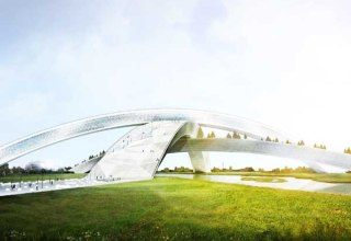 The snowflake design will house six indoor and two outdoor slopes in its three intersecting arches