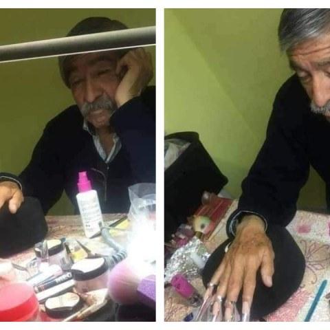 papá se presta a ser modelo de uñas para ayudar a su hija