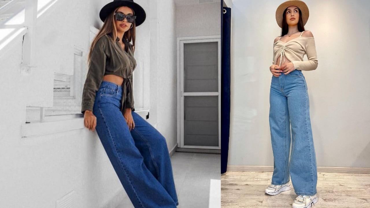 como usar jeans wide leg 70s