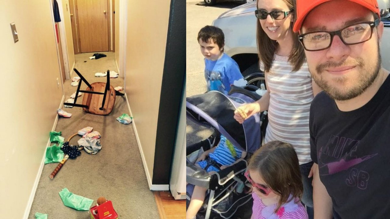 Mel y Clint Edwards familia casa desordenada