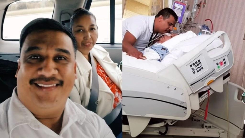 hombre cuida a su esposa tras derrame