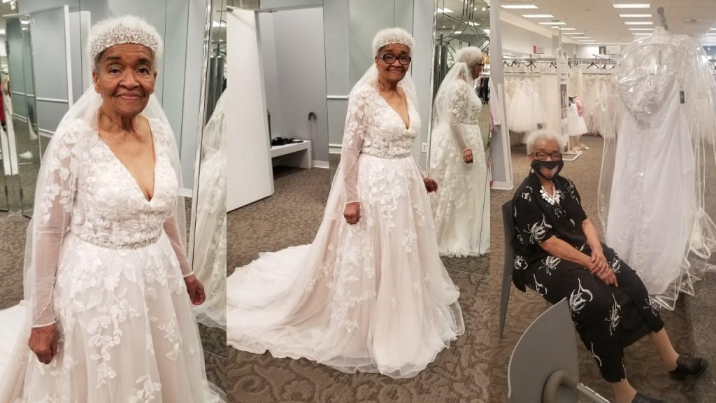 Mujer cumple su sueño de usar vestido de novia