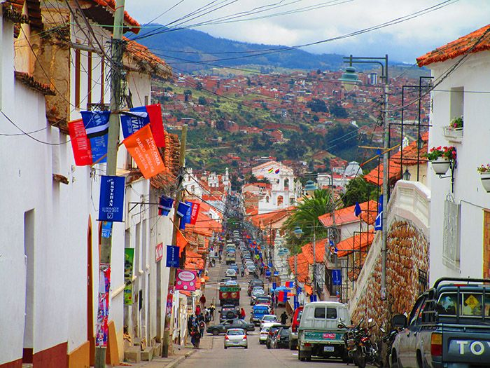 Casitas blancas en Sucre, Bolivia