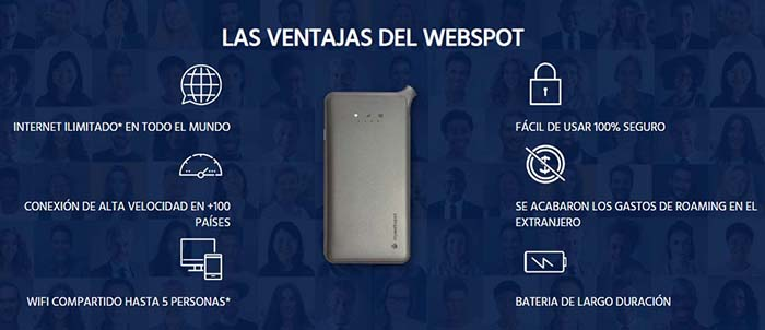 Webspot Wifi portatil Internet para viajar