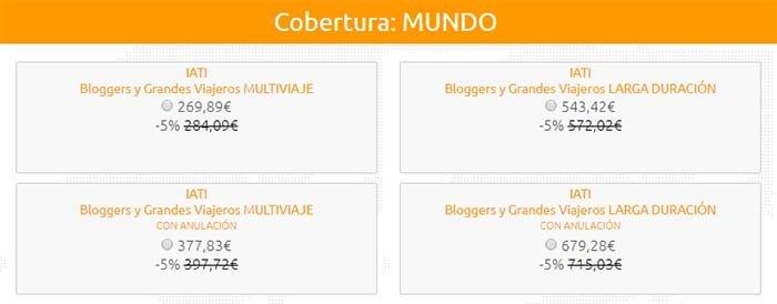 Precio IATI Bloggers y Grandes Viajeros