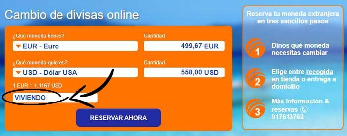 Mejor cambio de divisas online descuento Ria