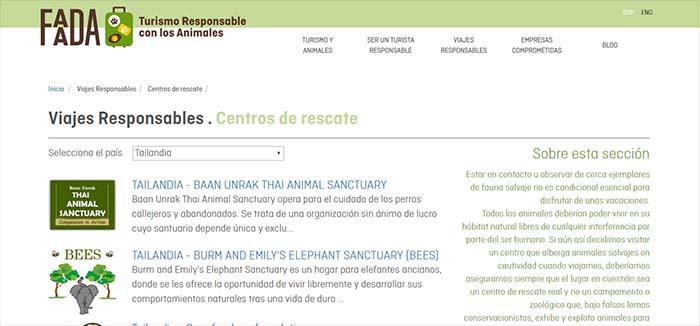 Centros recomendados elefantes Faada