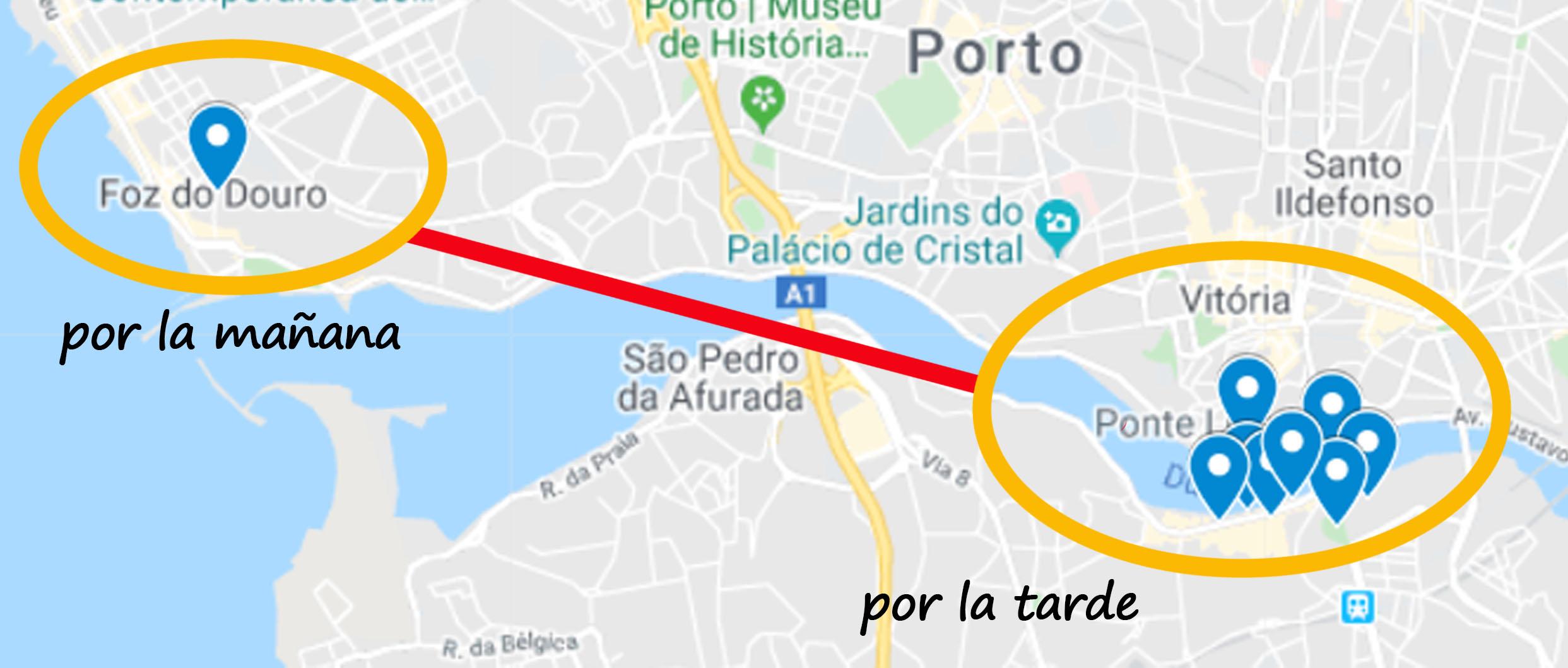 Mapa dia 2 en Oporto Viviendoporelmundo
